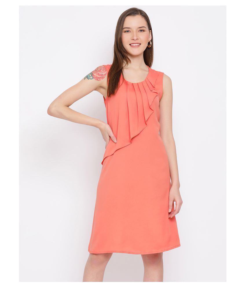 DRAAX Fashions Polyester Orange Fit And Flare Dress