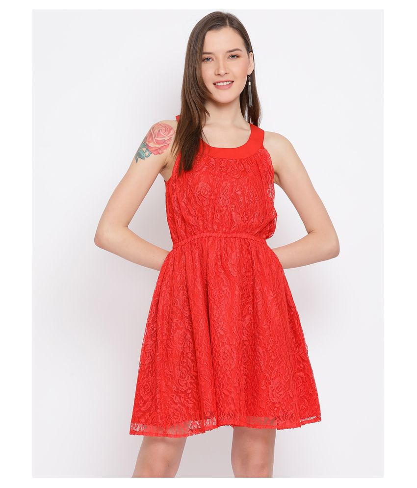 DRAAX Fashions Polyester Red Fit And Flare Dress