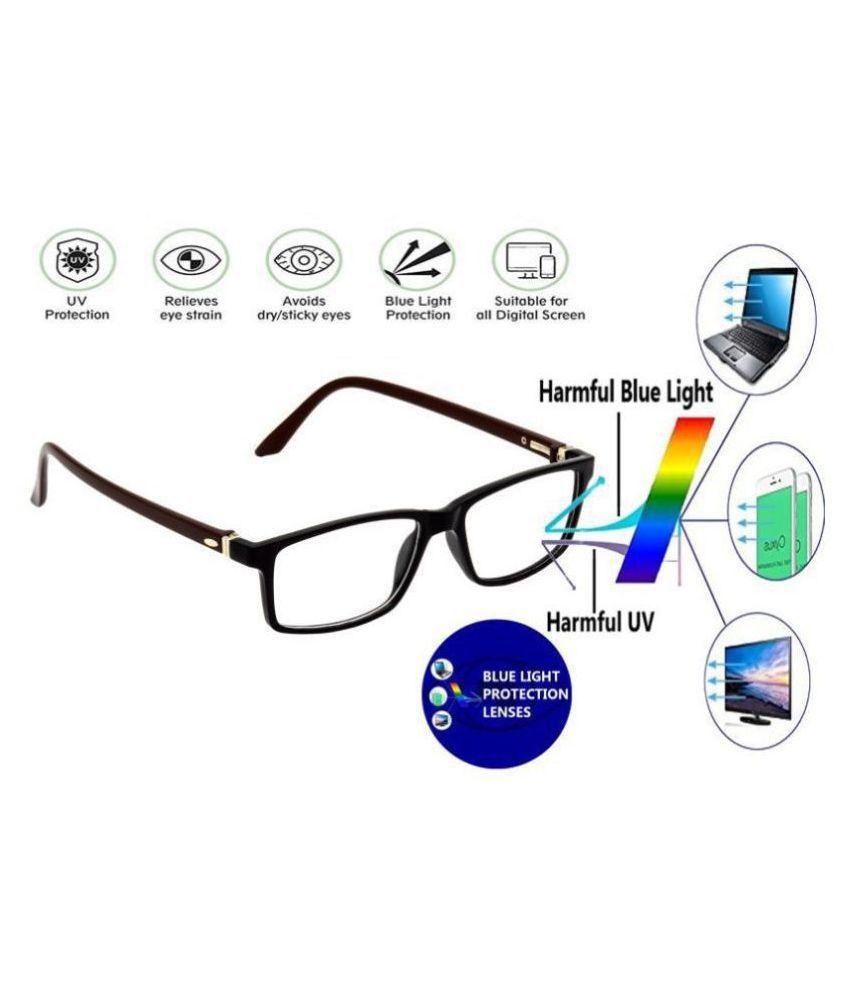 Unisex Blue Cut & Anti-glare Computer Glasses   For Computer Mobile TV   Eye Protection   Zero Power   Brand - HRINKAR