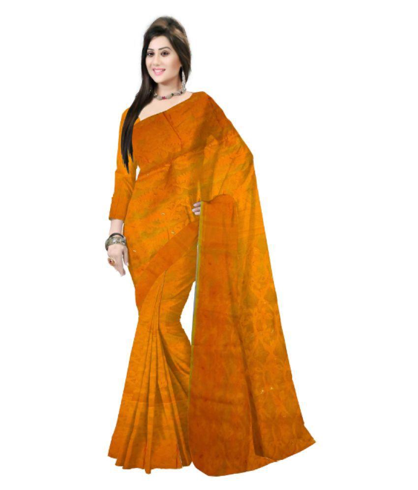 Pradip Fabrics Yellow Bengal Handloom Saree