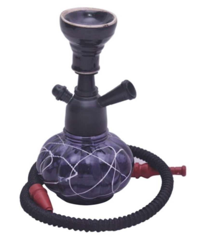 Veda Home  amp; Lifestyle Blue 12 cm Glass Table Hookah   Pack of 1