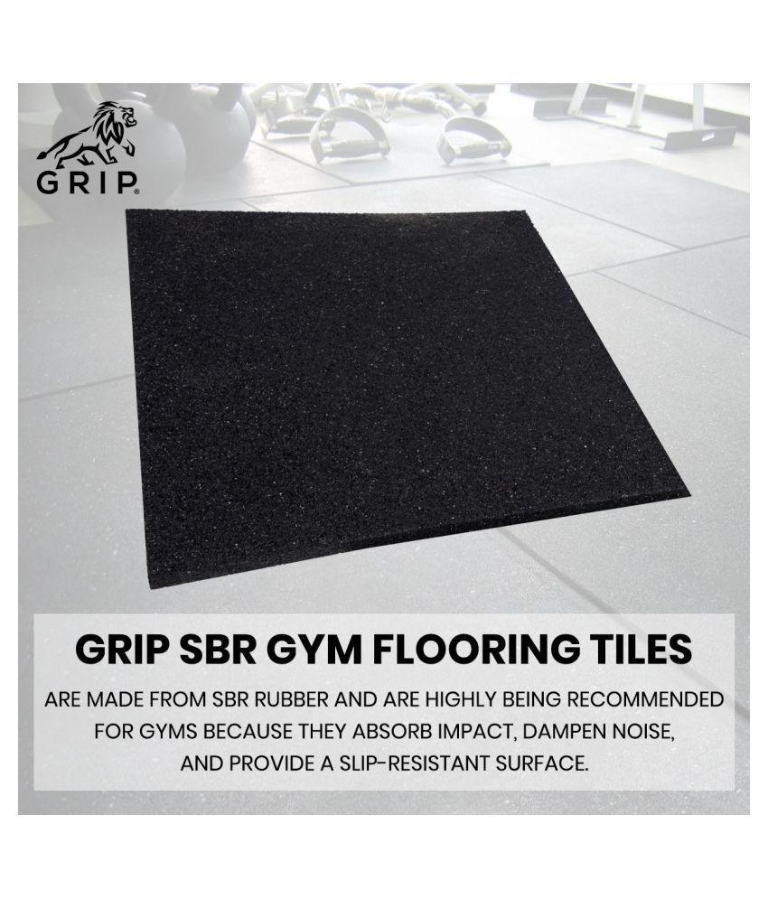 Grip SBR Gym Flooring Tiles | Set Of 2 | 20 MM Thickness | Black