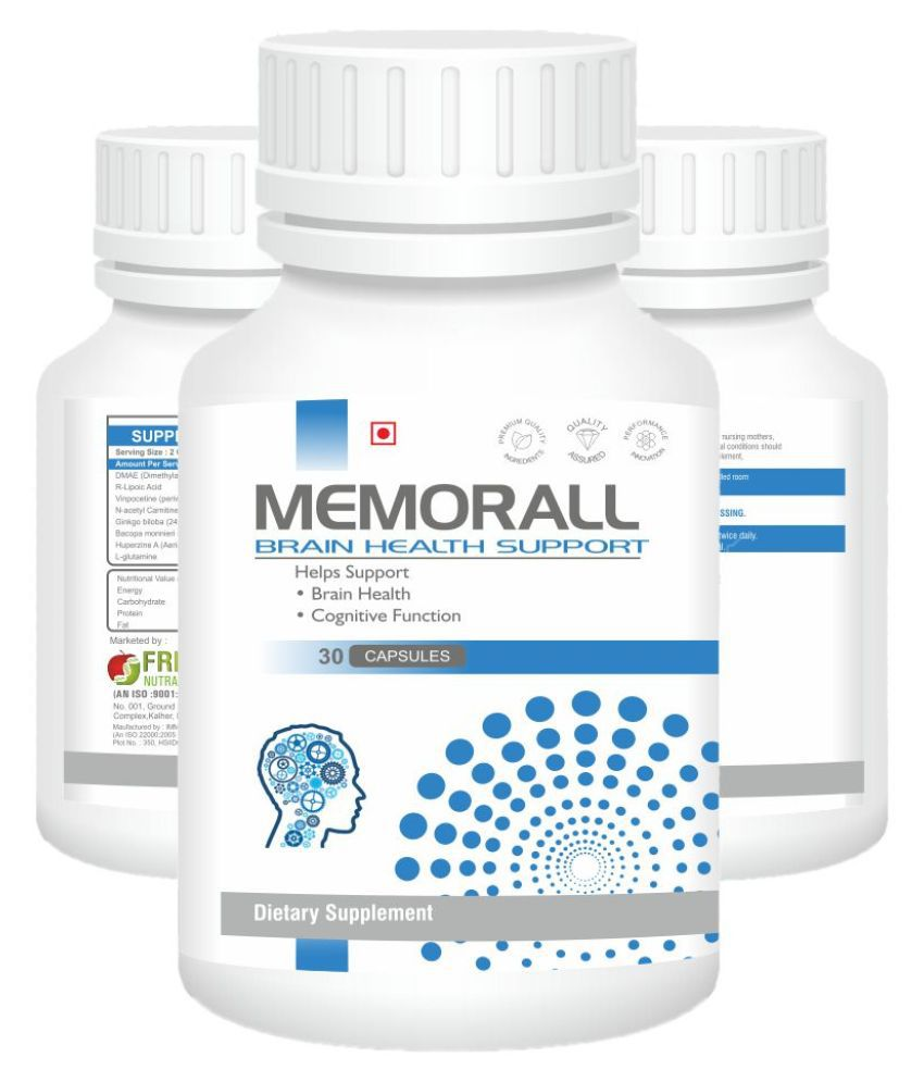 Memorall Brain Health DHAME, Bacopa Monnieri, Vinpocetine, Ginkgo Biloba Extract Brain Health Booster Dietary Supplement 30 gm Multivitamins Capsule
