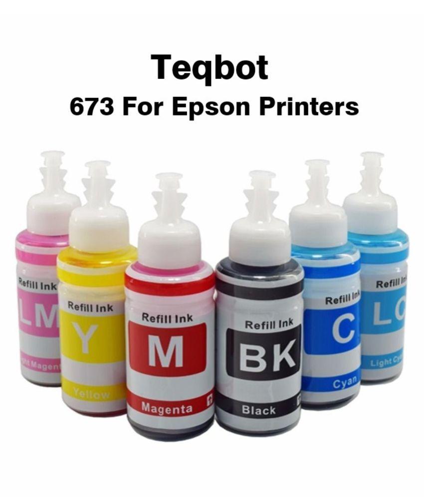 TEQBOT 673 L805 Epson Multicolor Pack of 6 Ink bottle for Compatible L1800,L805,L800,L810,L850