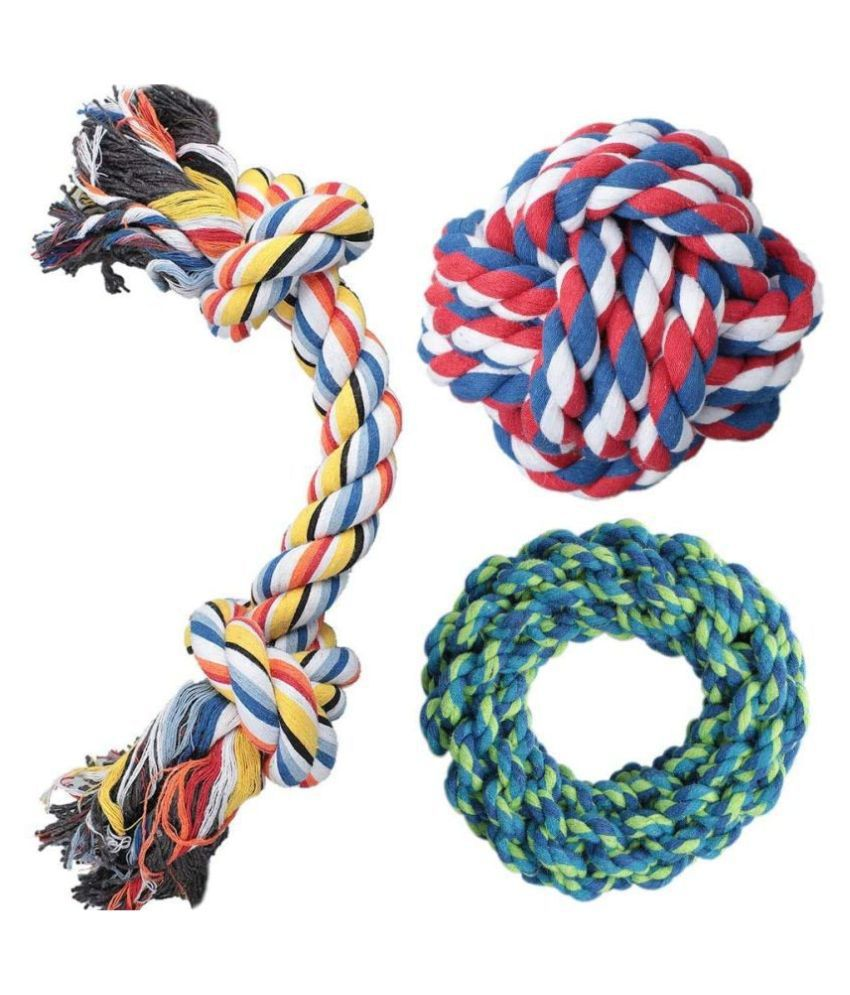 KOKIWOOWOO Dog Rope Toy, 3 Pack Dog Chew Toys, Dog Toys Set with 100% Natural Cotton, Dog Toys for Large Dogs