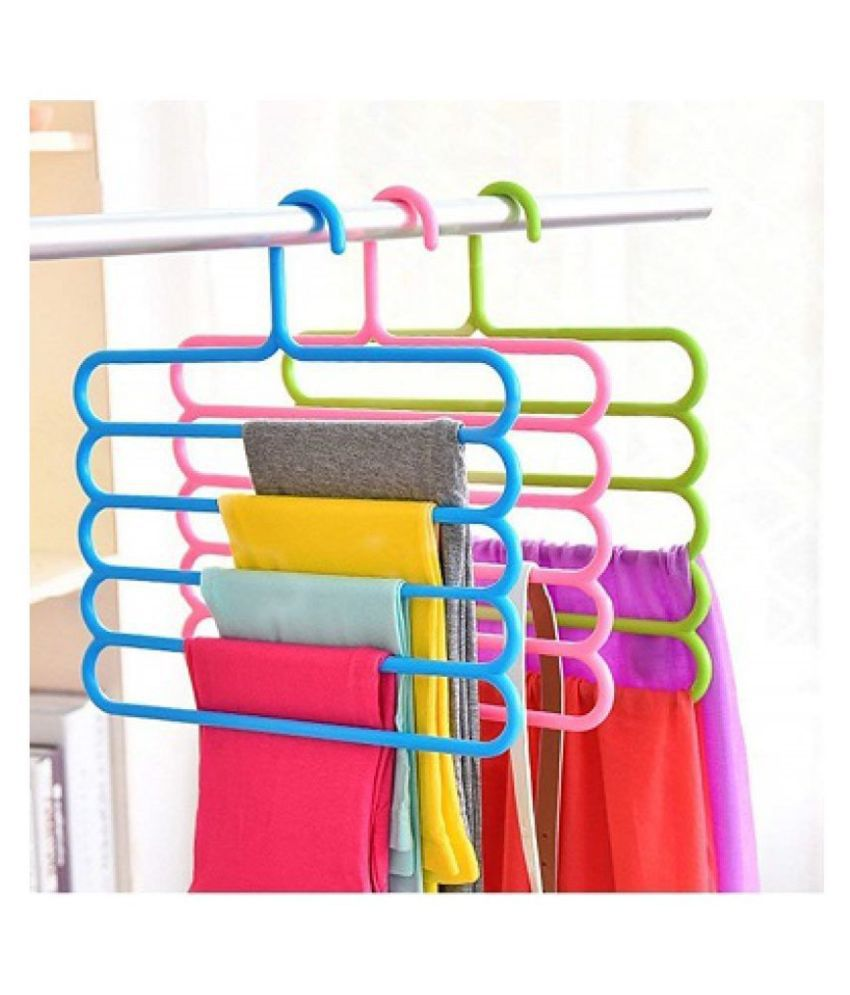 RAFTTAR-Set of 5 Cloth set Organizer Space Saving Plastic Multi-Functional Storage Wardrobe Clothes Organizer Hanger for Shirts, Pants, Skirts, T-Shirts