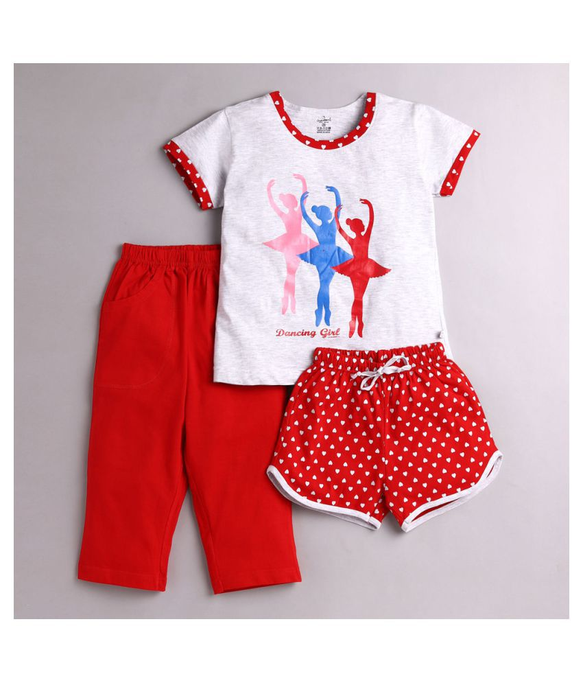 Hopscotch Girls Cotton 3 Piece Sleepwear Set in Red Color For Ages 5-6 Years (COB-3530773)