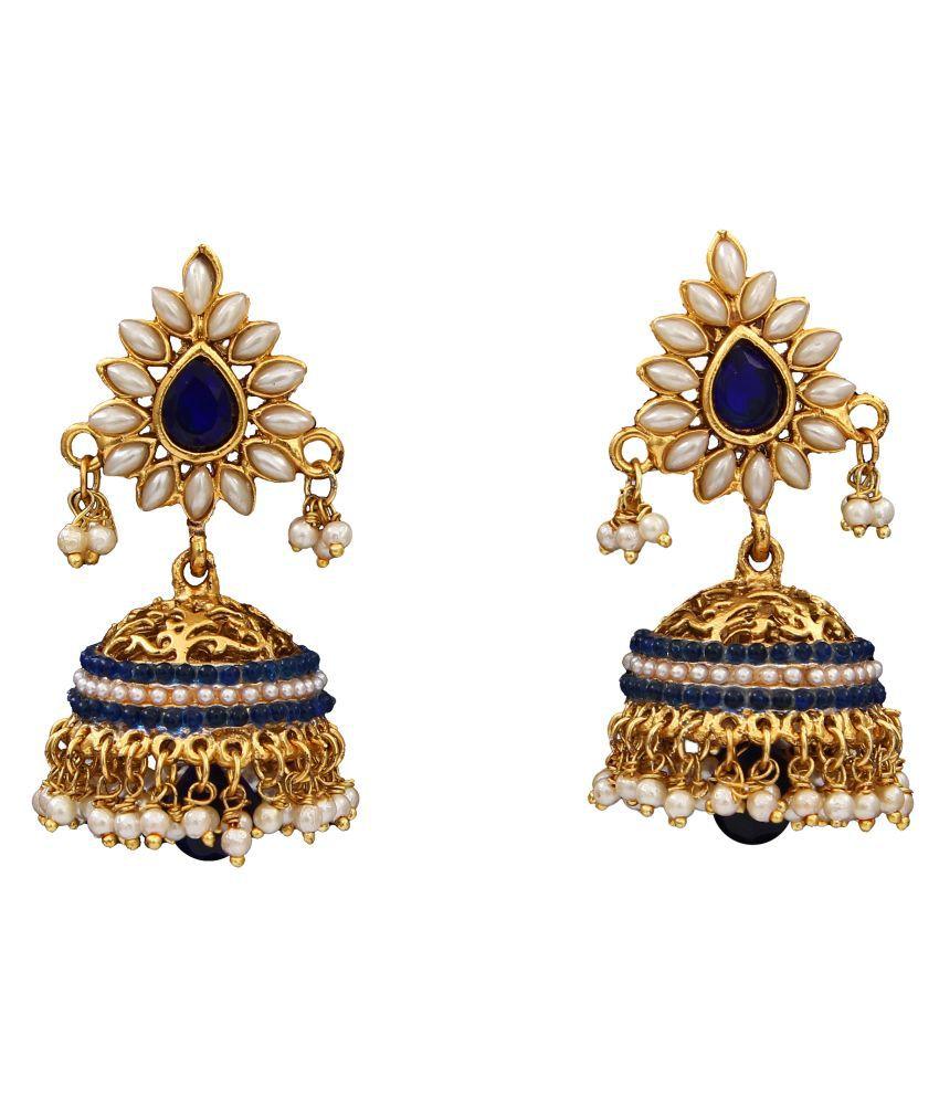 Jhumki Earrings Gold Plated Emerald Emerald Beautiful Jhumki Earrings Gold Plated Emerald for Women Girls Ladies Beautiful