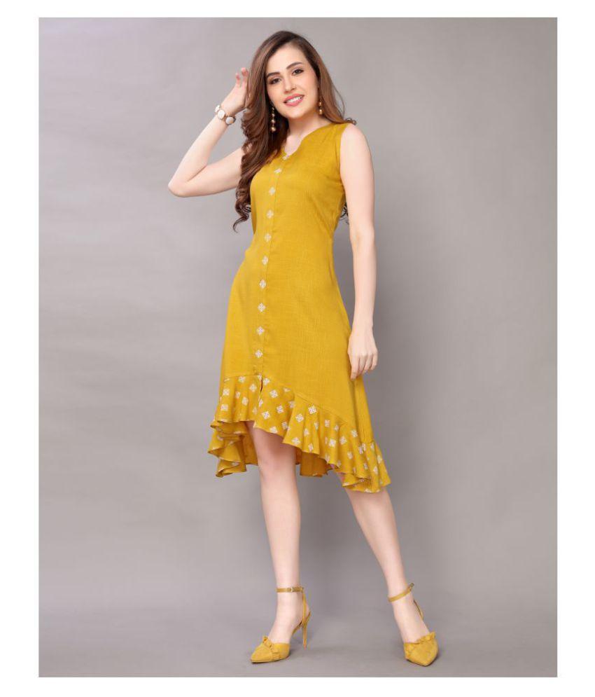 Selvia Rayon Yellow Asymmetric dress