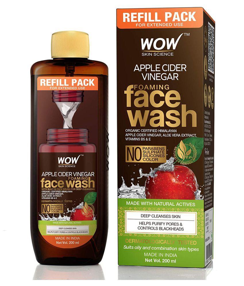WOW Skin Science Apple Cider Vinegar(Refill Pack) Foaming Face Wash 200 mL