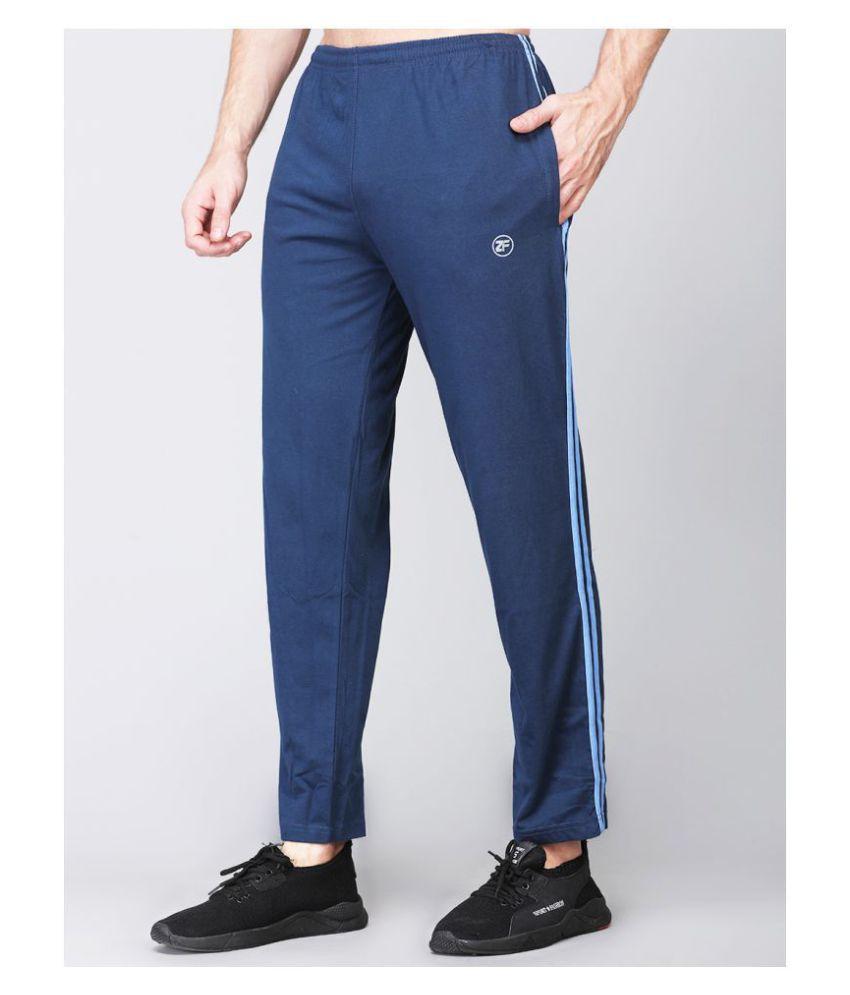 ZIMFIT Men Cotton Blend Blue Trackpant