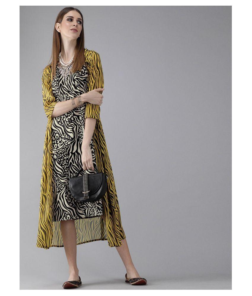 AKS Polyester Black Wrap Dress
