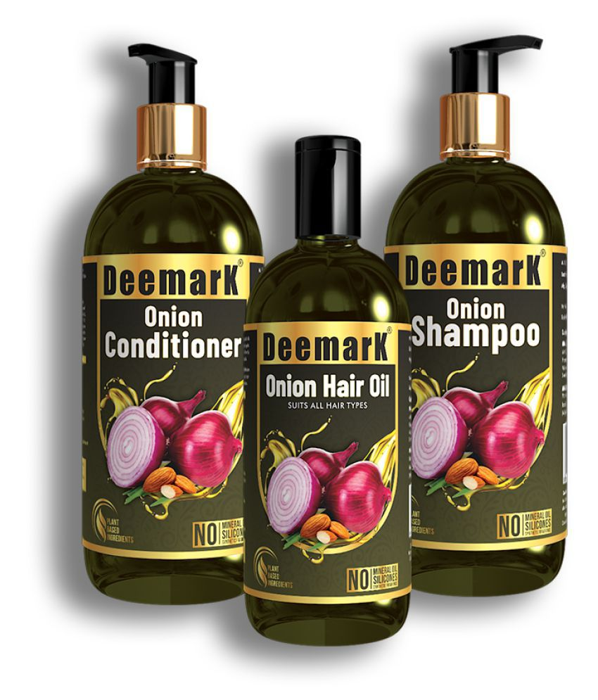 Deemark Onion Hair Care Kit(300ml. Shampoo, 300ml. Conditioner, 150ml. Oil)|With Red Onion Seed Oil, Black Seed Oil & Pro-Vitamin B5