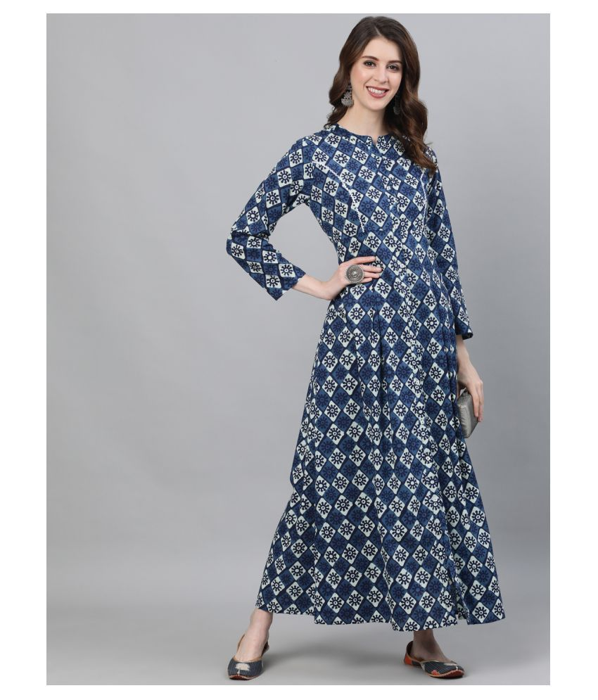 AKS Cotton Blue A- line Dress