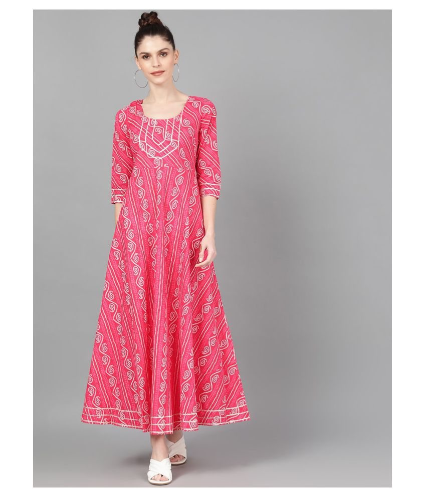 Aks Cotton Pink Fit And Flare Kurti