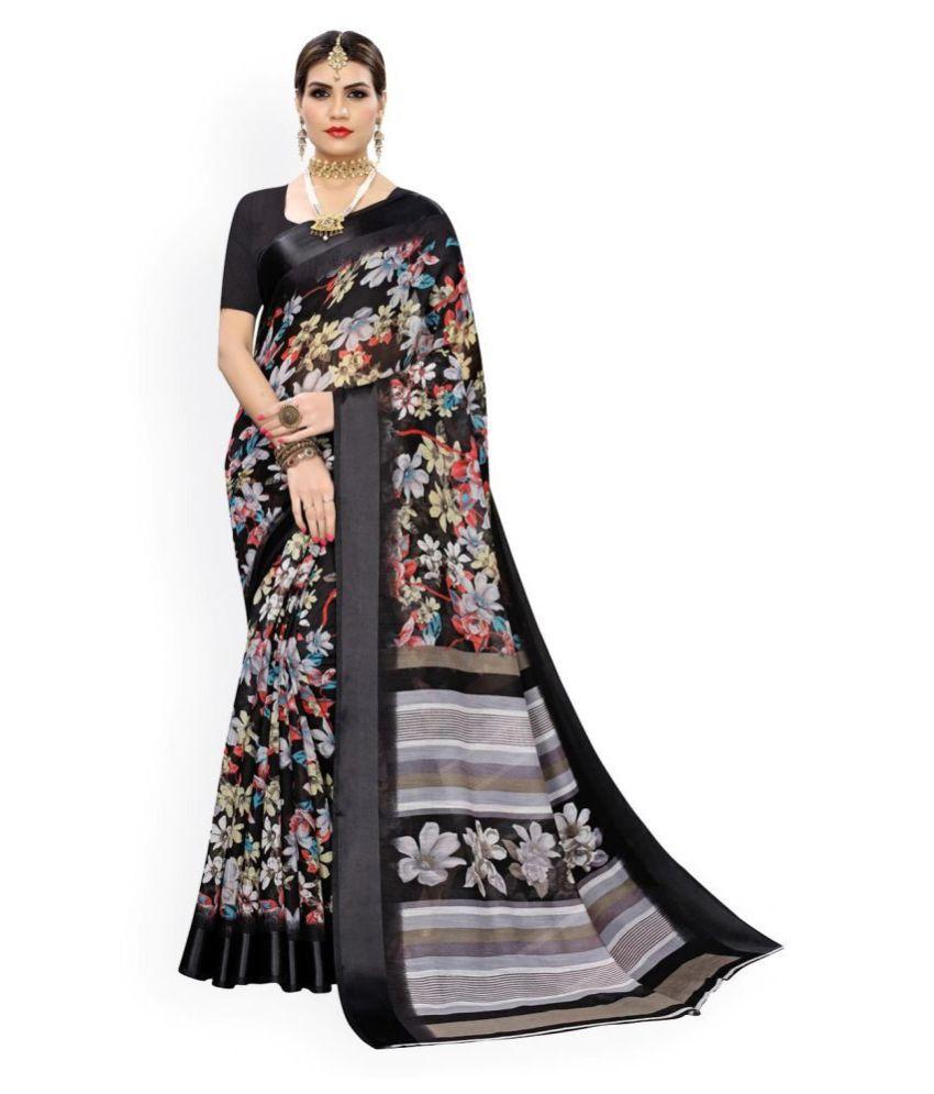 MOHAMMED SHAKIR NISAR WARSI Black Cotton Blend Saree - Single