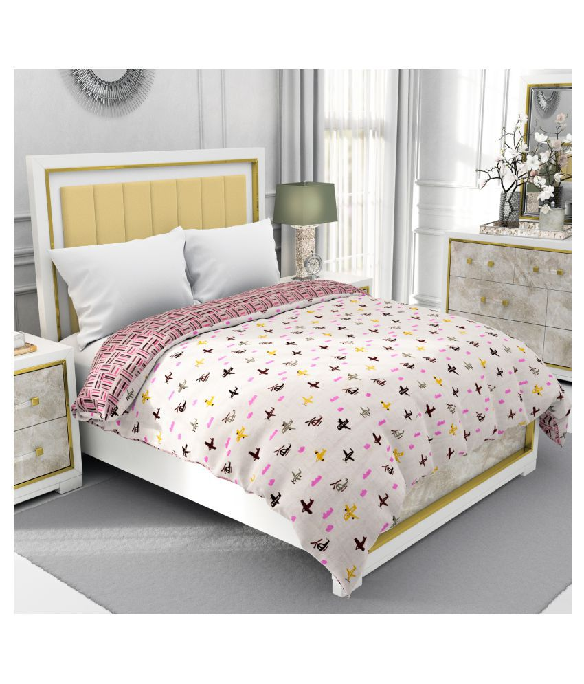 BE WANGLE Double Cotton Pink Printed Dohar