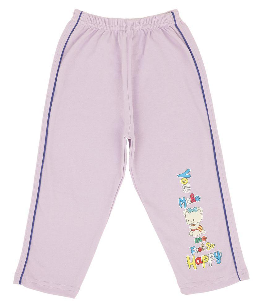 Bodycare Kids Infant Girls Purple Printed Track Pant