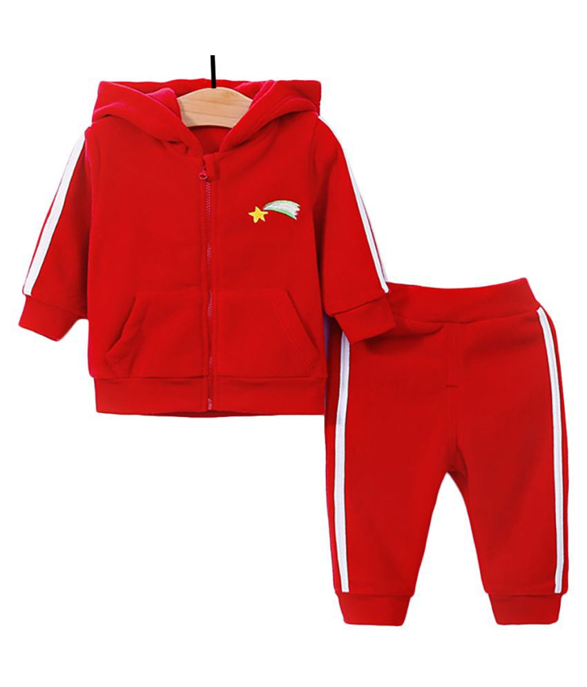 Hopscotch Baby Girls Polyester Full Sleeves Solid Hoodie And Jogger Set in Red Color For Ages 18-24 Months (YYG-3247326)