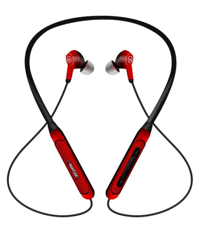 Matlek Bluetooth Earphone Headphone Wireless Neckband Wireless With Mic Headphones/Earphones