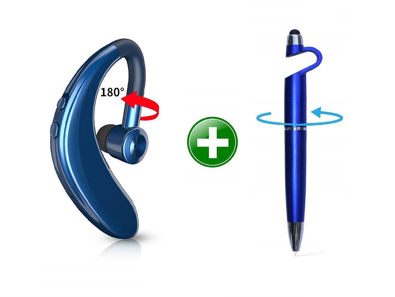 STONX S9 Wireless Handsfree v5.0 Bluetooth Headset - Blue (Free Pen mobile holder )