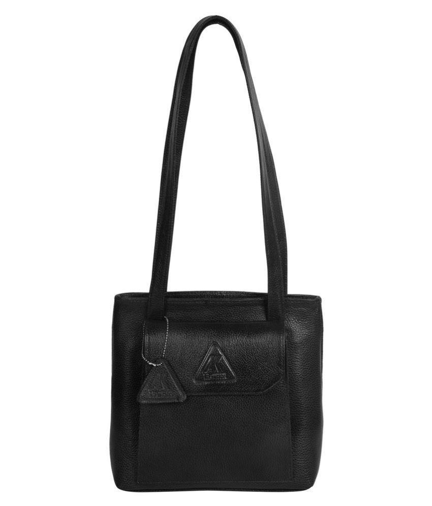 A.K.LEATHER Black Pure Leather Shoulder Bag