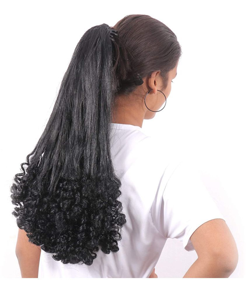 ASG Curly Clip In Hair Extension Black 24 Inch Half Curly