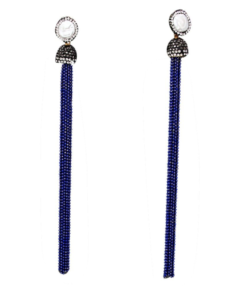 CaratYogi Indo-Western Multi Chain Tassle Earrings German Silver Cubic Zircon, Basra Pearl Blue Handcrafted Stylish Jewellery Designer Collection Dangler Earring Set for Mother Sister Wife