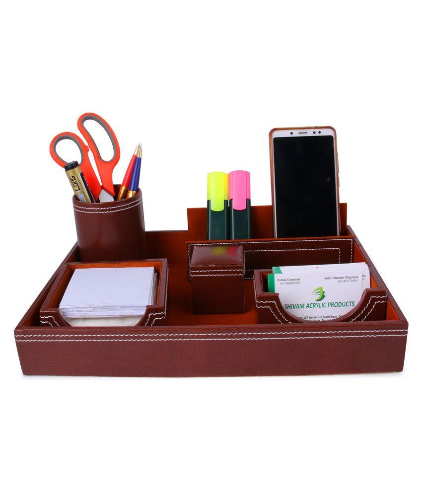 Rasper Genuine Leather Tan Brown Multipurpose Desk Organizer 6-in-1 Desktop Set Pen Stand Holder with Mobile Holder & Remote Stand for Office Desk Table Storage Organizer Box (13x9 Inches)