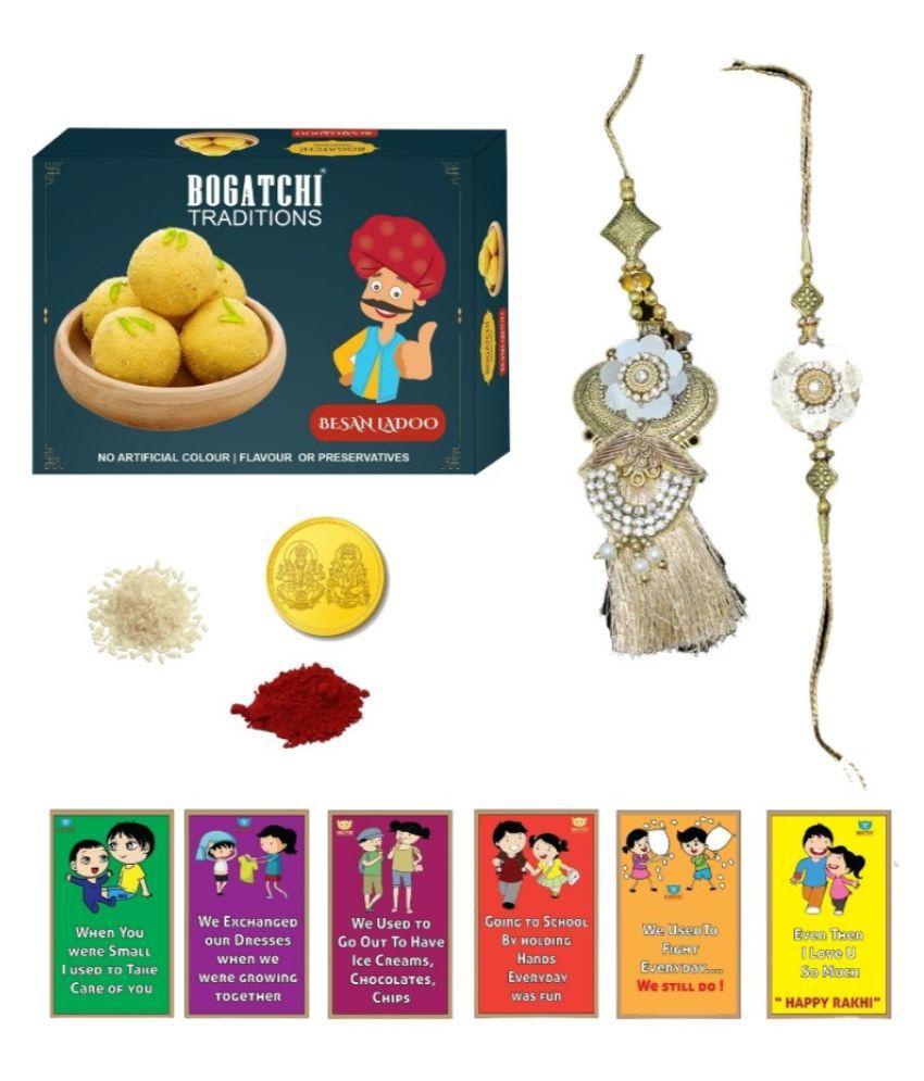 BOGATCHI Assorted Box Lumba Rakhi  Lumba Rakhi with Sweets 200 gm