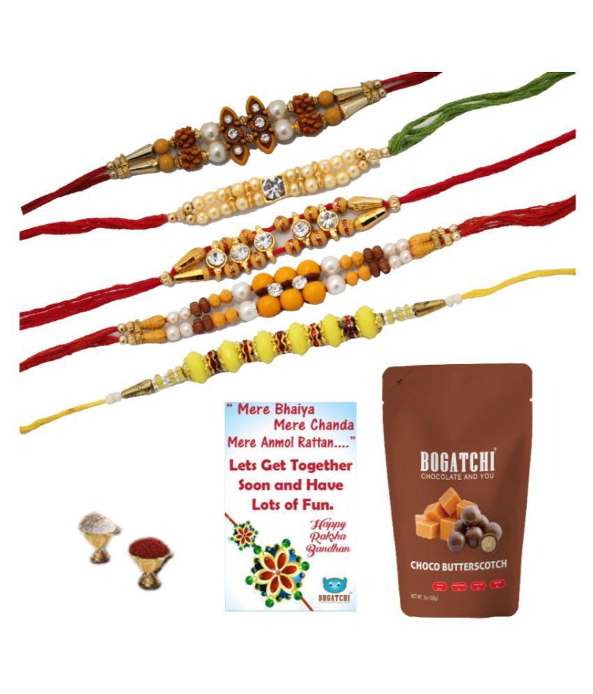 BOGATCHI Assorted Box Rakhi Gift for Brother|Rakhi & Chocolate 200 gm