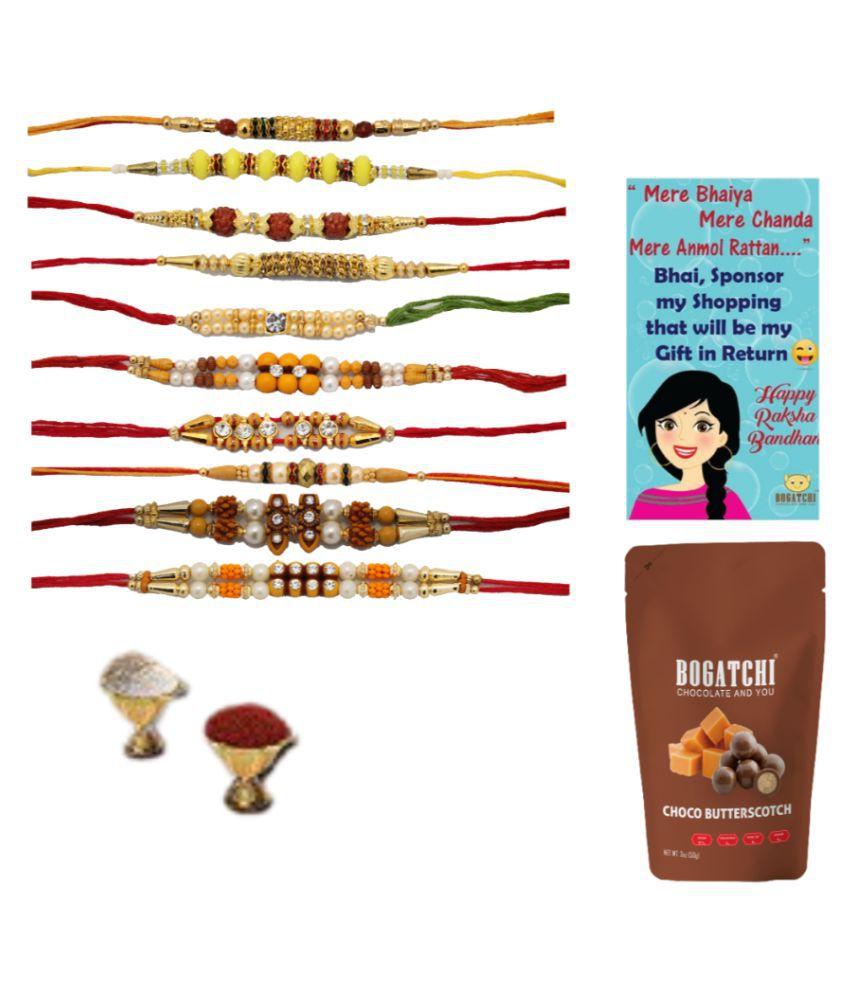 BOGATCHI Assorted Box Rakhi Gift for Brother Rakhi & Chocolate 200 gm