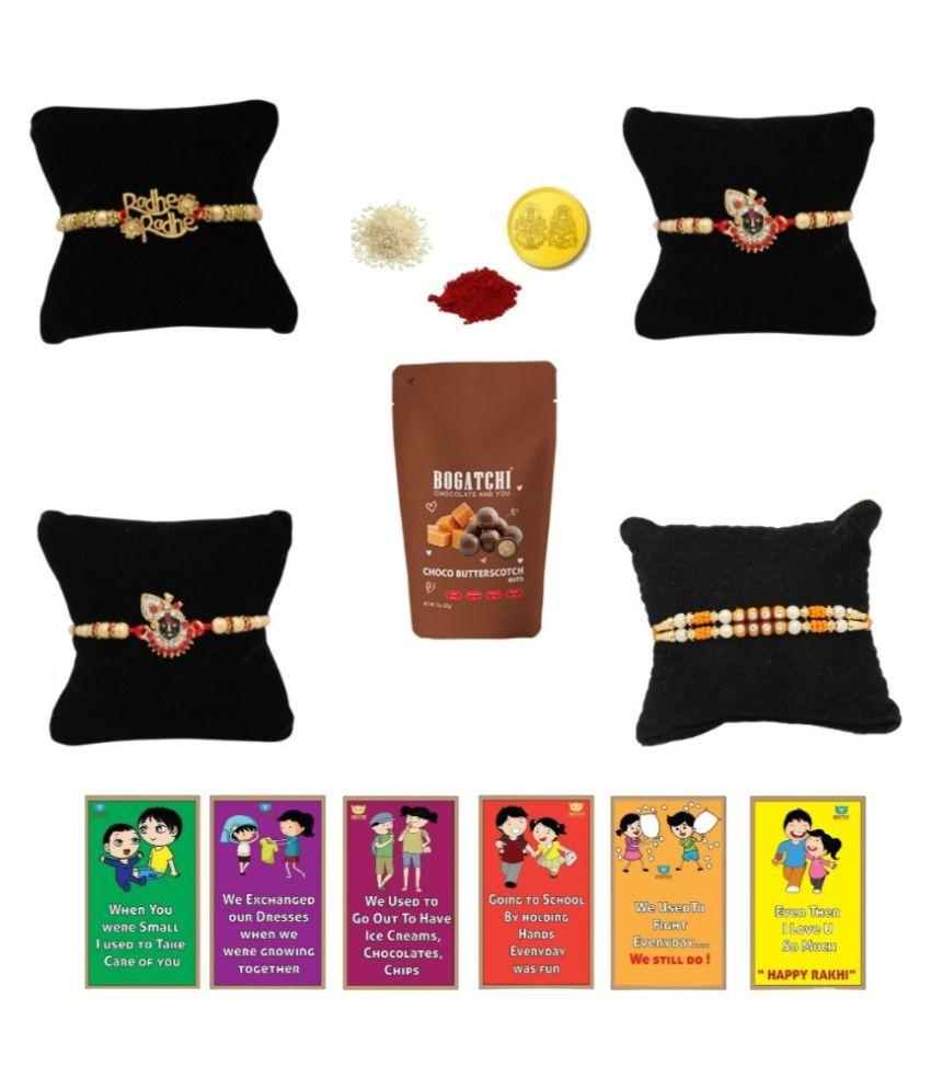 BOGATCHI Assorted Box Rakhi for Brother|Rakhi & Chocolate 200 gm