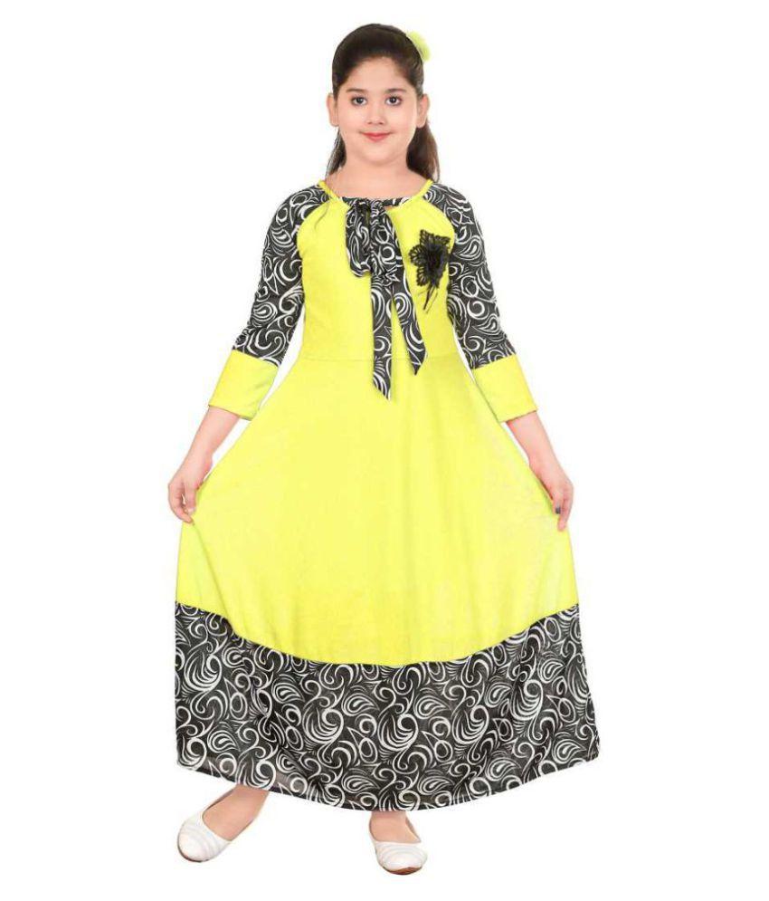 Mojua Girls Maxi/Full Length Festive/Wedding Dress  Yellow, 3/4 Sleeve
