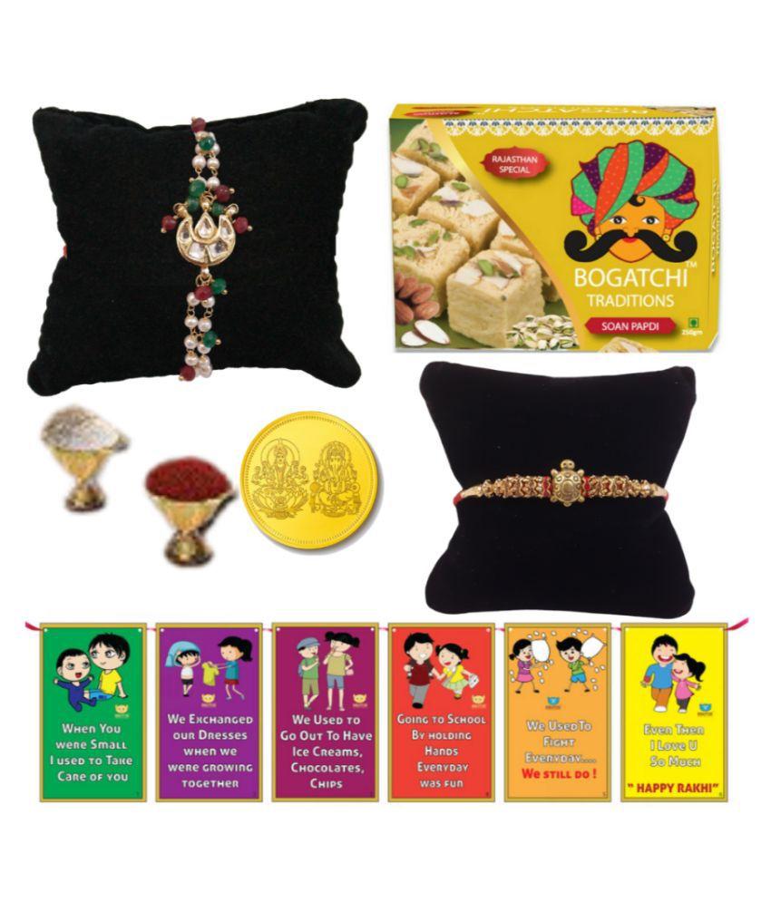 BOGATCHI Assorted Box Rakhi for Brother|Rakhi with Sweets 200 gm