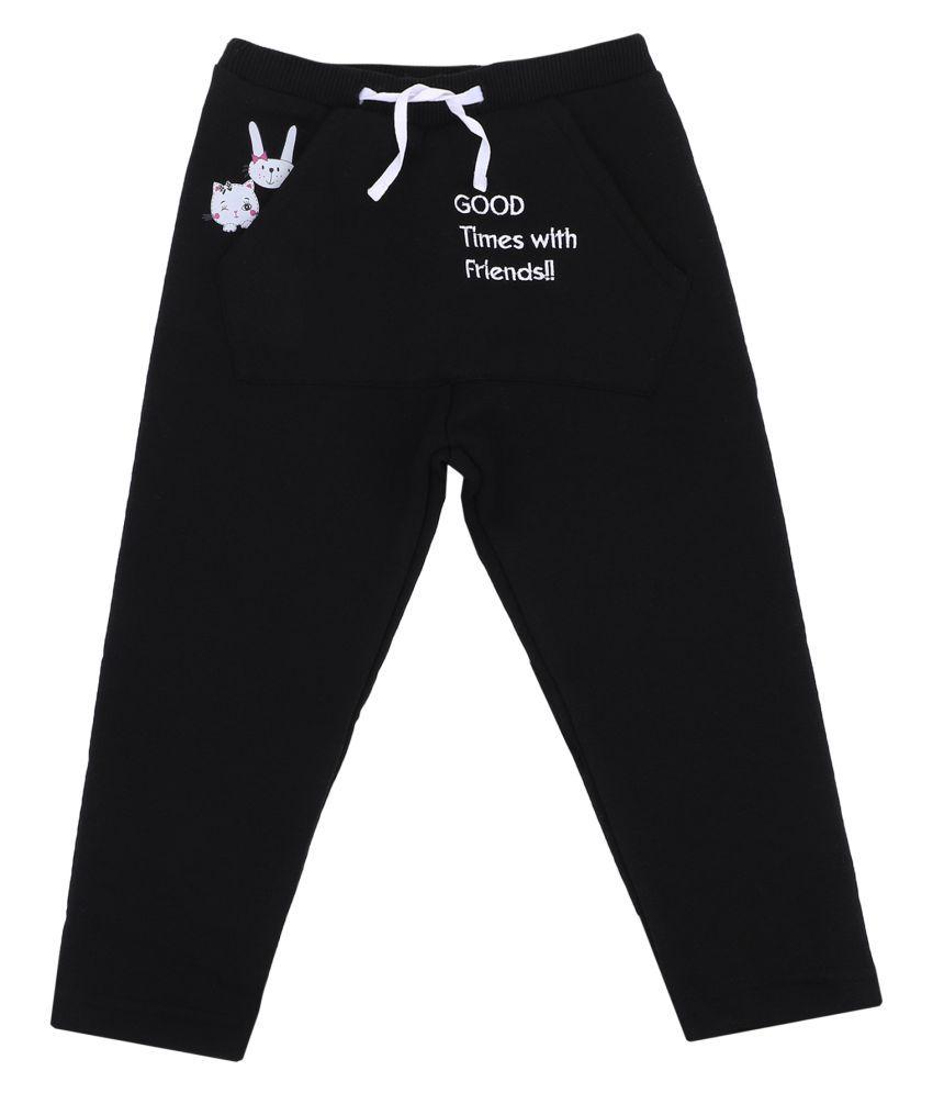 Bodycare Kids Infant Girls Black Printed Trackpant