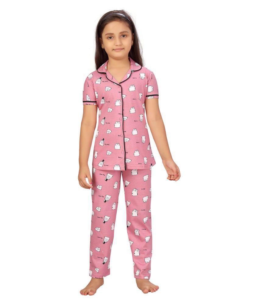 Aarika Girls Pink Color Night suit set