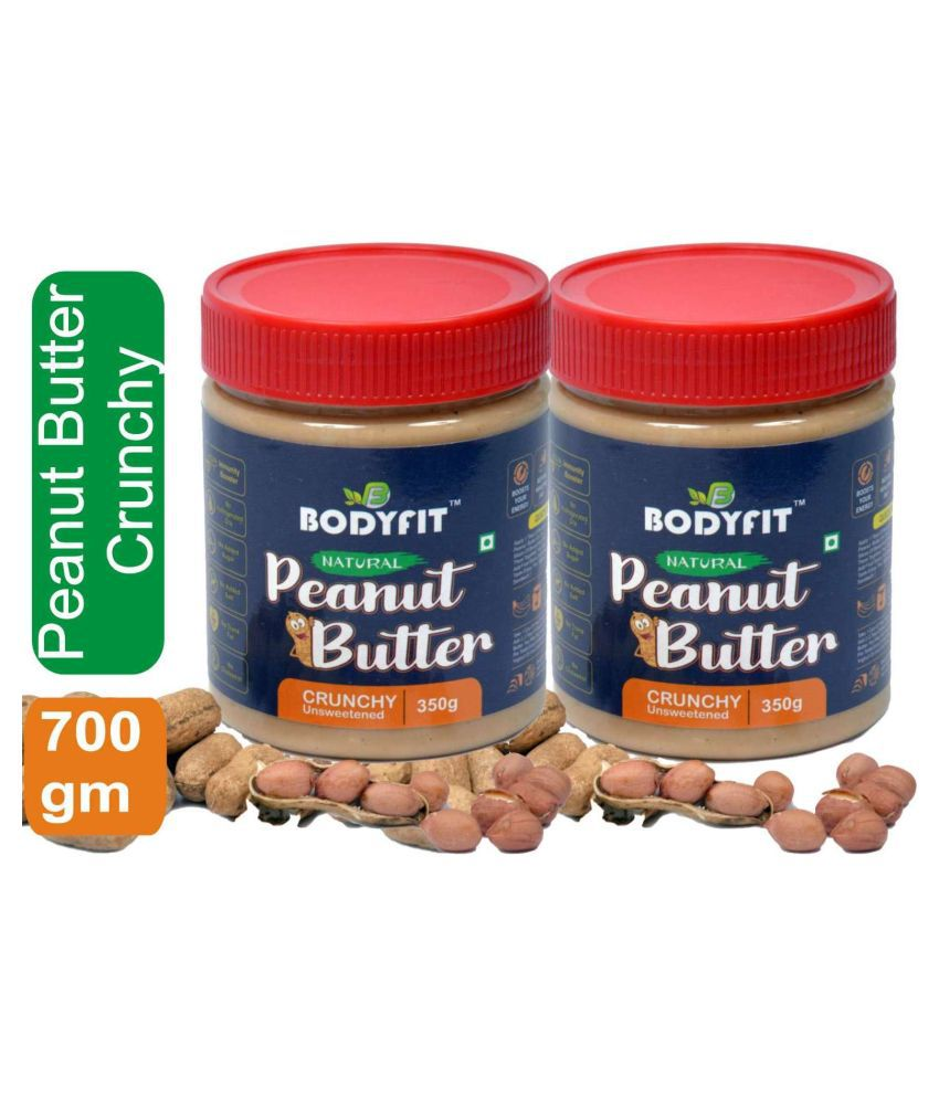 BODYFIT PEANUT BUTTER NATURAL 30% PROTEIN Butter Crunchy 700 gm Pack of 2