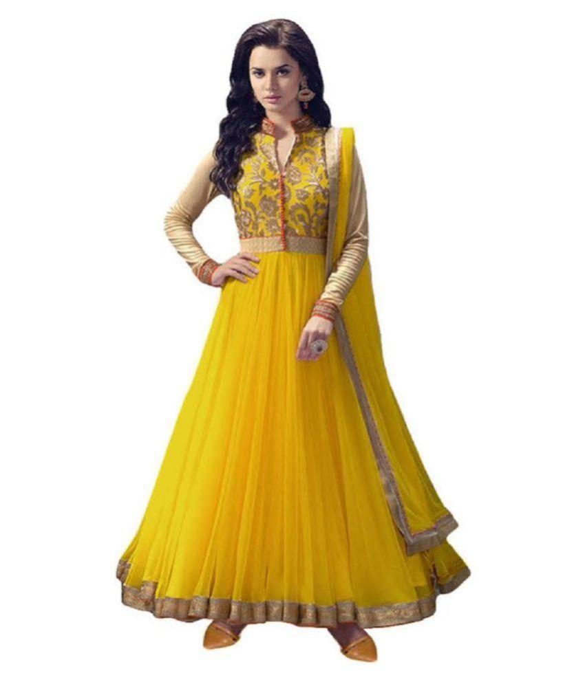 FASHION KREZA Yellow Net Anarkali Semi-Stitched Suit -