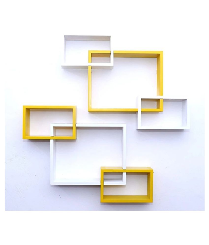 TFS Wall Mount Intersecting Wall Shelves Set of 6 Display Unit MDF(Yellow White)