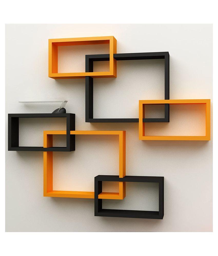 TFS Wall Mount Intersecting Wall Shelves Set of 6 Display Unit MDF(Orange Black)