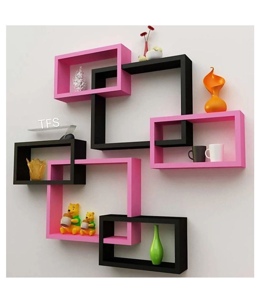 TFS Wall Mount Intersecting Wall Shelves Set of 6 Display Unit MDF(Pink Black)