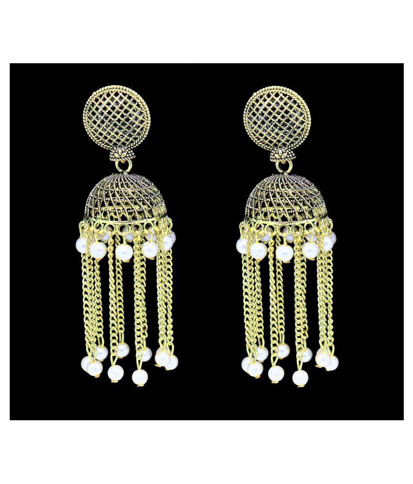 Happy Stoning Designer Taselled long Antique GoldenEarrings for Rakhi Gift
