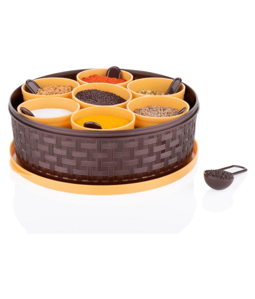 OCTIQON Spice box,Masala Box for Kitchen Plastic 7 Section and 7 spoon Set Spice Box for Masala Spices Mediem size Masaladani Dabba