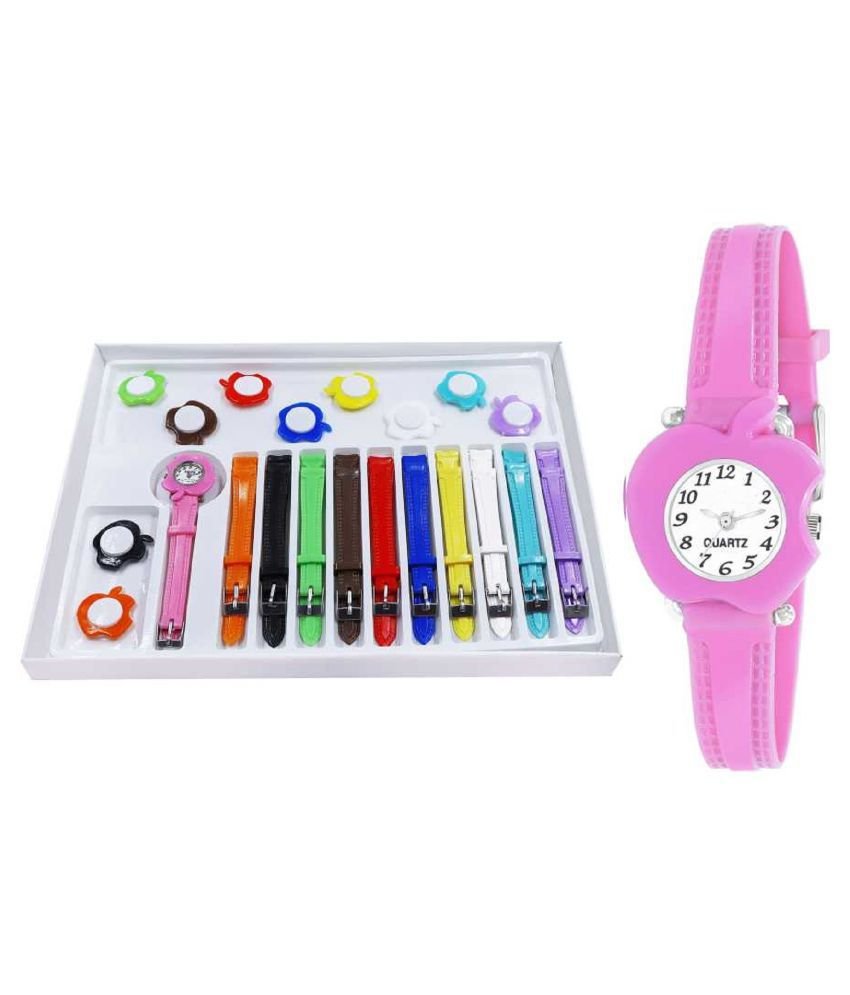 Viser Multicolor and 11 Belt changeable watch for kids Analog Watch - For Girls