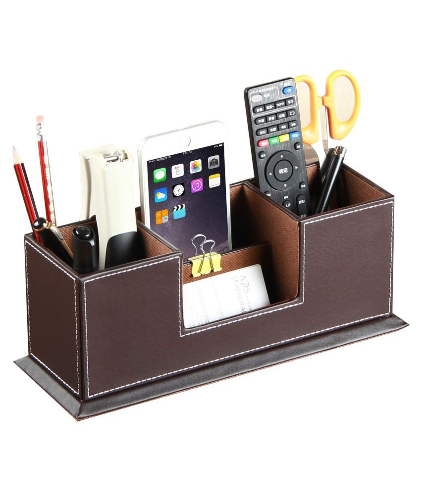 Desktop Faux Leather Storage Box | for Pen Business Card Remote Control Mobile Phone Cosmetics Offices Supplies Holder Collection Desk Organizer  (brown)
