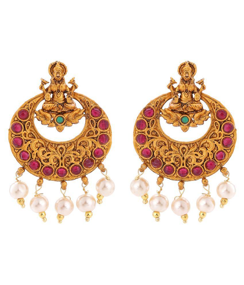 Stefan Traditional Ethnic Maa Laxmi Crystal Dangler Earrings for Women CJ100305