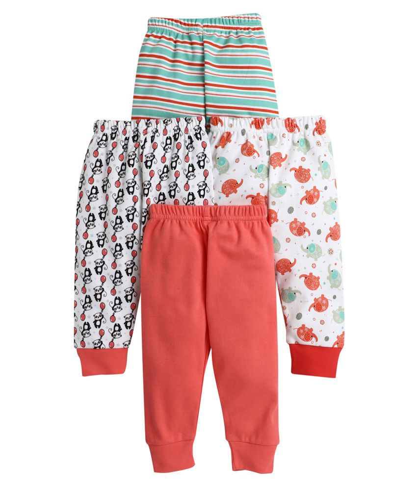BUMZEE Coral.Green Printed Pajamas For Baby Boys Pack Of 4