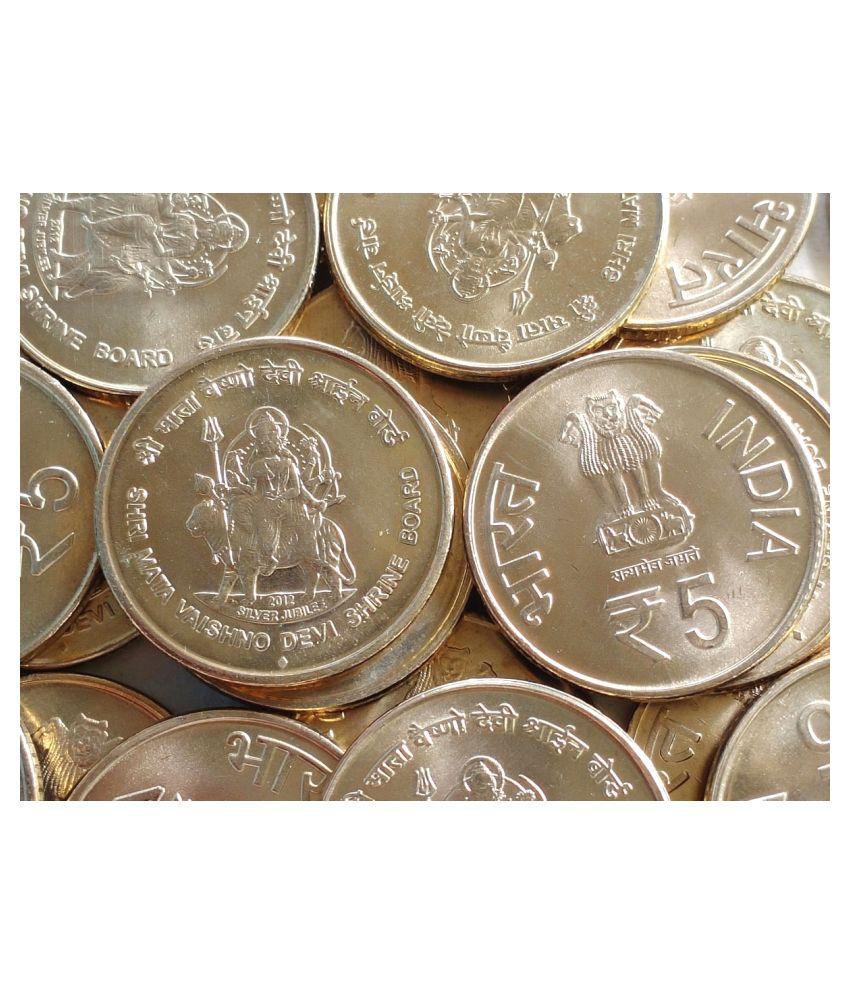 100 Pieces LOT - 5 Rs (Shri Mata Vaishno Devi Shrine Board) Commemorative - GEM UNC / UNC - india