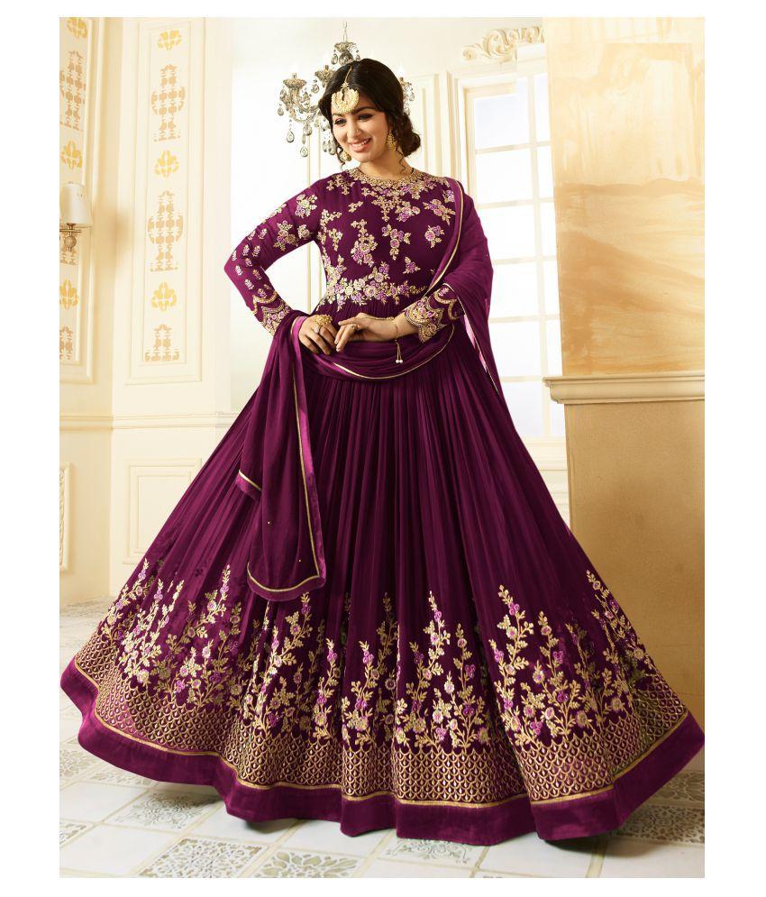 RAJESH TEX Purple Georgette Anarkali Semi-Stitched Suit - Single